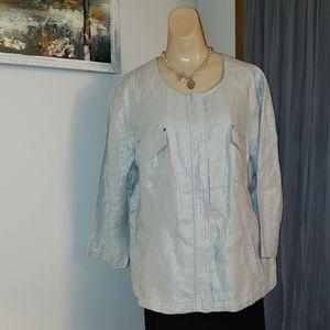 BNWT Chico's Foiled Linen Zipper Jacket